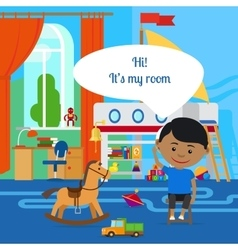 Boy with message bubble and room vector image