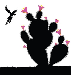 cactus and parrot in fly vector image vector image