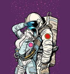 cosmic love of cosmonauts man hugs woman vector image