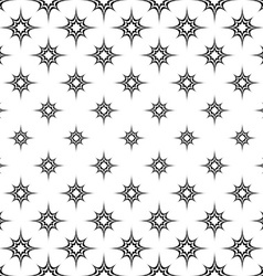 Seamless monochrome curved star pattern vector image
