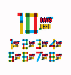10 days left number template design vector