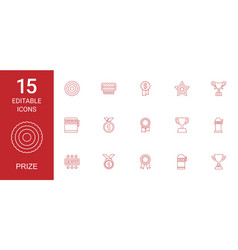 15 prize icons vector image