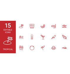 15 tropical icons vector image