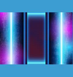 3d neon light on grunge futuristic background vector
