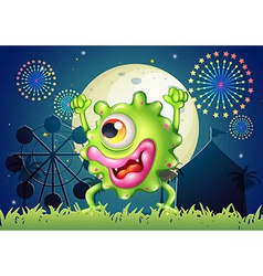 A monster dancing at the carnival in the middle of vector