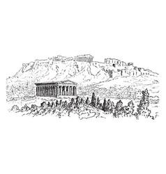 acropolis at athens vintage engraving vector image