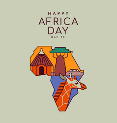 africa liberation day map outline cartoon card vector image