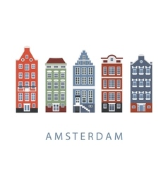 Amsterdam city buildings set vector image