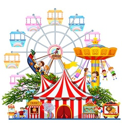 Amusement park scene with many rides vector
