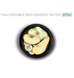 Apple pear and banana slices on a black plate vector