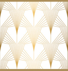 Art deco pattern seamless white and gold vector