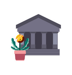 bank potted plant coin vector image