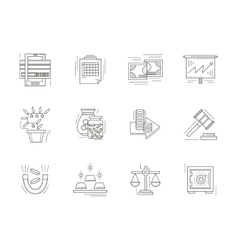 Banking flat line icons set vector image