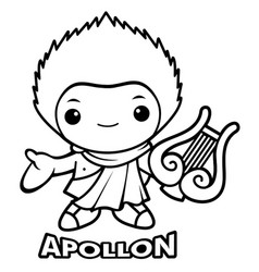 Black and white apollo mascot the god of the sun vector