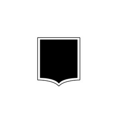 black flat shield icon with squared top and curved vector image