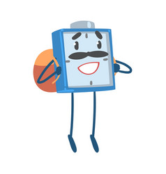 Blue alarm clock character standing with backpack vector