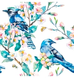 Blue jay on a flowering branch Spring pattern vector