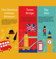 british london symbols banners set vector image