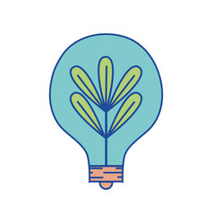 Bulb with plant and leaves inside icon vector