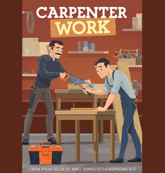 carpentry woodworking furniture making workers vector image
