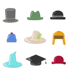 cartoon hats collection hats and bowlers vector image vector image