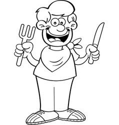Cartoon Hungry Boy vector