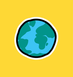Cartoon sticker with earth planet vector