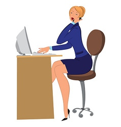 Cartoon woman secretary talking on phone and vector image
