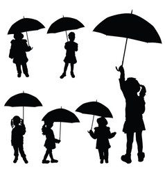 child girl holding umbrella silhouette vector image