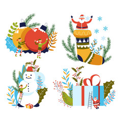 christmas and new year celebration santa and vector image