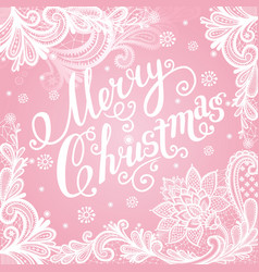 Christmas lace card with text vector
