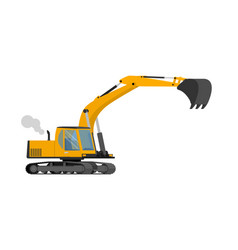 Closeup orange construction excavator with big vector