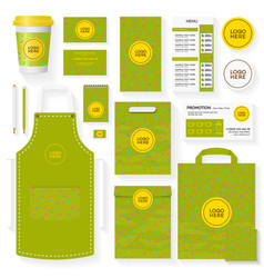 Coffee shop identity template set green color vector