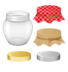 Collection different objects glass jar with vector