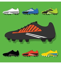 Colorful soccer shoes icon set vector