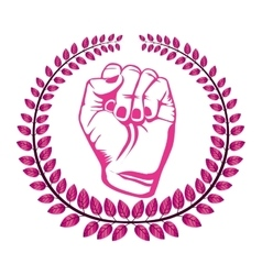 Crown of leaves with pink closed hand symbol vector