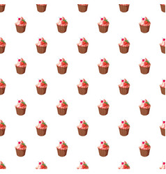 cupcake with strawberry pattern vector image