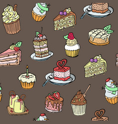 cupcakes seamless pattern sketch style vector image
