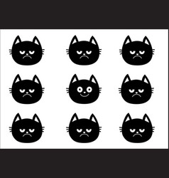 Cute black cat set emotion collection happy vector