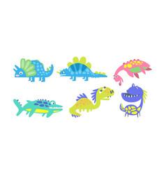 cute cartoon dinosaur characters set kid vector image
