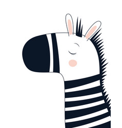 cute scandinavian zebra isolated on white vector image