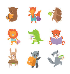 cute school animals bear and fox lion and vector image