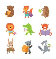 cute school animals bear and fox lion vector image