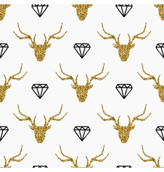Deer Heads and Diamonds Seamless Pattern vector image
