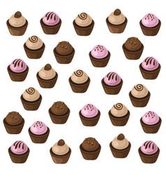 Delicious cupcakes set pattern sweet dessert vector