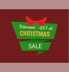 discount 25 percent off christmas sale label tag vector image