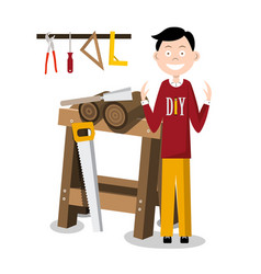 Diy man with working tools and sawhorse vector
