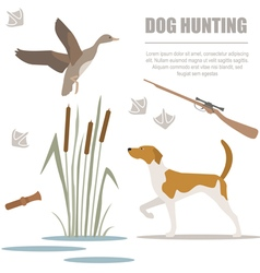 Dog hunting Flat style vector