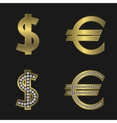 Dollar and euro signs vector