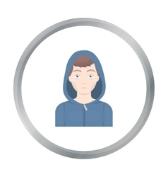 Drug addict man icon in cartoon style isolated on vector